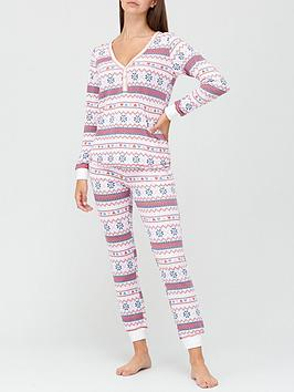 v-by-very-christmasnbspfairisle-henley-soft-touch-pyjamasnbsp--print