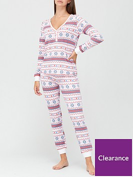 v-by-very-christmasnbspfairisle-henley-soft-touch-pyjamasnbsp--print