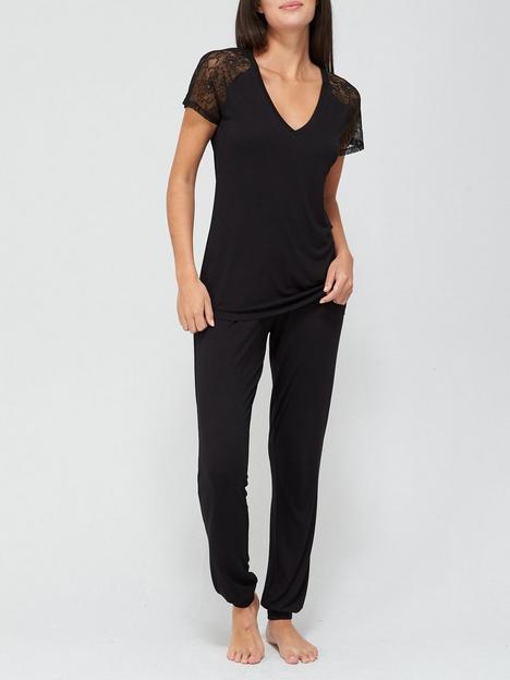 v-by-very-lace-sleeve-t-shirt-pj-set-black