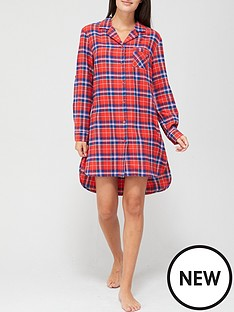 v-by-very-check-oversized-flannel-nightshirt-pink-check