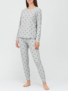 v-by-very-gift-wrapnbspheart-print-waffle-fleecenbsppyjamasnbsp--grey