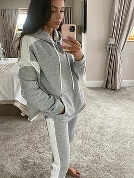 michelle-keegan-colour-block-jersey-hoodie-greywhite