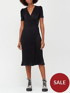 v-by-very-plisse-short-sleeve-wrap-midi-dress-black