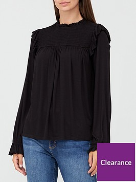 v-by-very-long-sleeve-shirred-top-black