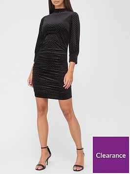 v-by-very-high-neck-velvet-mini-dress-black