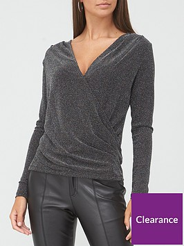 v-by-very-lurex-long-sleeve-wrap-top-silver