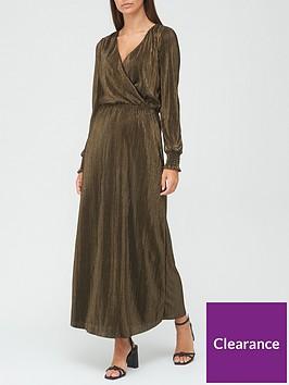 v-by-very-long-sleevenbspshirred-cuff-metallic-plisse-midi-dress-gold