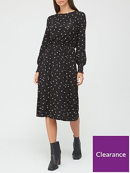 v-by-very-shirred-cuff-long-sleeve-midi-dress-blackprint