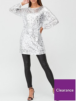 v-by-very-blouson-sleeve-sequin-tie-waist-tunic-silver