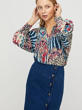 Monsoon Monsoon Mercy Print Sustainable Blouse - Blue Picture