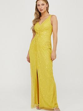 Monsoon Monsoon Kate Linear Embellished Maxi Dress - Yellow Picture