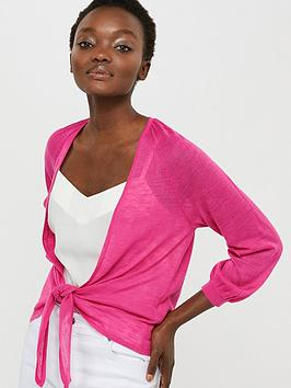 Monsoon Monsoon Libby Linen Blend Tie Shrug - Pink Picture