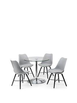 Julian Bowen Julian Bowen Kudos 80 Cm Round Dining Table And 4 Kari Chairs Picture