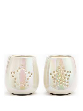 set-of-2-star-cut-out-pearlised-candle-holders