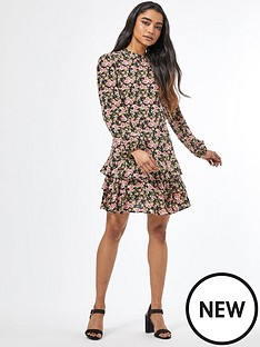 dorothy-perkins-petites-floral-ruffle-fit-and-flare-dress-ivory