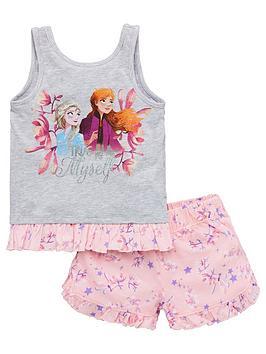 Disney Frozen Disney Frozen Girls True To Myself Vest Shorty Pyjamas - Grey Picture