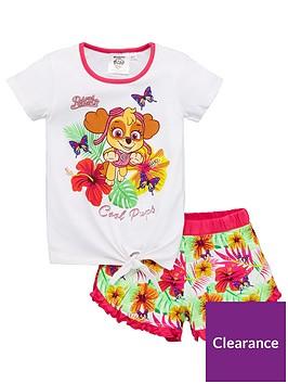 paw-patrol-girlsnbspcool-pups-floral-tie-top-shorty-pyjamas-white