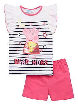 Peppa Pig  Girls Stripe Bear Hugs Frill Vest Shorty Pyjamas - White