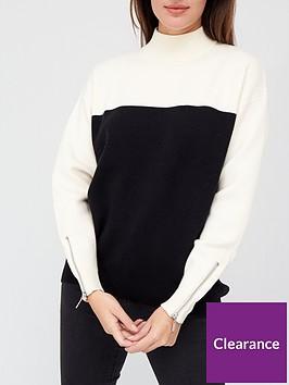 v-by-very-turtle-neck-zip-cuff-detailnbspcolour-block-jumper-monochrome