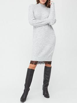 v-by-very-lace-trim-knitted-midi-dress-grey-marl