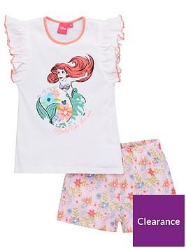 the-little-mermaid-girls-disney-princess-ariel-frill-vest-shorty-pyjamas-white