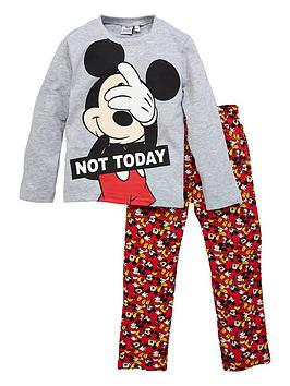 mickey-mouse-boysnbspnot-today-long-sleeve-pyjamas-grey