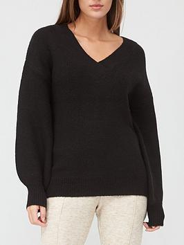 v-by-very-v-neck-blouson-sleeve-jumper-black