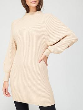 v-by-very-volume-sleeve-knitted-dress-camel