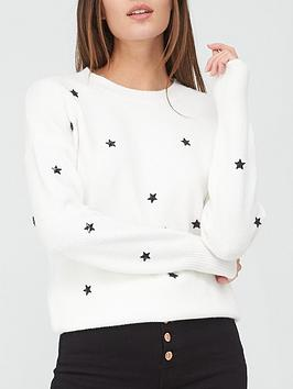 v-by-very-value-small-stars-embellished-jumper-white