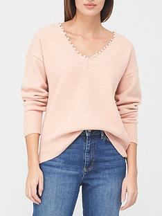 v-by-very-v-neck-pearl-detail-jumper-dusty-pink