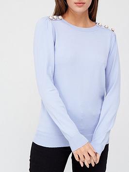 v-by-very-pearl-shoulder-detail-lightweight-jumper-dusky-blue