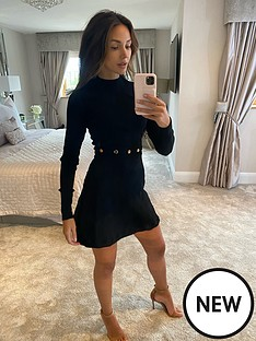 michelle-keegan-button-detail-compact-knit-skater-dress-black
