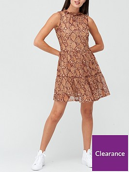 v-by-very-tiered-mesh-mini-dress-snake-print