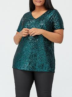v-by-very-curve-stretch-sequin-top-green