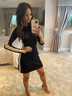 michelle-keegan-colour-block-knit-tunic-dress-black