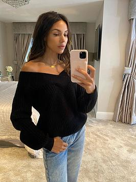 michelle-keegan-wrap-cable-knitted-jumper-black
