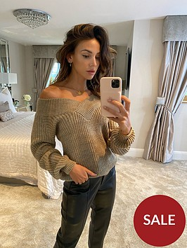 michelle-keegan-wrap-cable-knitted-jumper-oatmeal