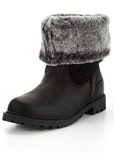 barbour-hareshaw-leather-faux-fur-trim-boot-black