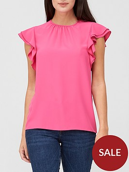 v-by-very-round-neck-short-sleeve-shell-top-pink