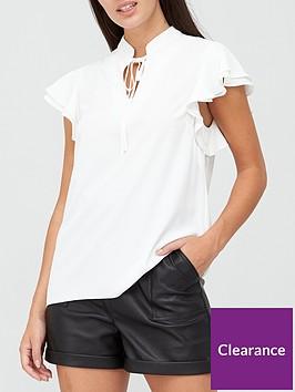 v-by-very-tie-necknbspfrill-sleeve-blouse-ivory