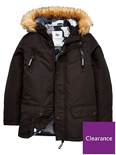 hype-boysnbspfaux-fur-parka-black