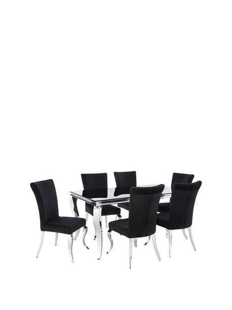 grace-160-cmnbsprectangle-dining-tablenbspnbsp6-chairs-blackchrome