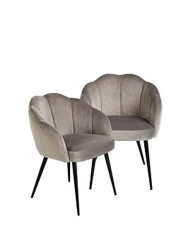 michelle-keegan-home-pair-of-angel-scallop-dining-chairs-grey-velvet