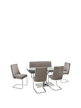 alice-rectangle-1-bench-4-velvet-chairs-dining-set