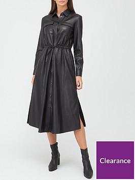 boss-casual-faux-leather-shirt-dress-black