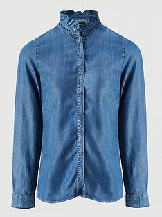 v-by-very-ruffle-neck-long-sleeve-soft-denim-shirt-mid-washnbsp