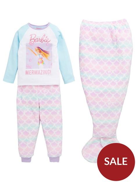 barbie-girlsnbsp3-piece-mermaid-pjs-with-mermaid-tail-blanket-multi