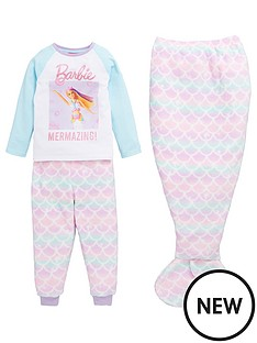barbie-girlsnbsp3-piece-mermaid-pjs-with-mermaid-tail-blanket-multi