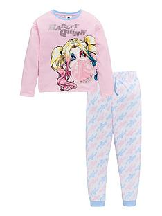 harley-quinn-girlsnbspsequin-bubble-long-sleeve-pjs-pink