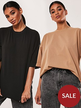 missguided-missguided-2-pack-drop-shoulder-oversized-t-shirt-blackcamel